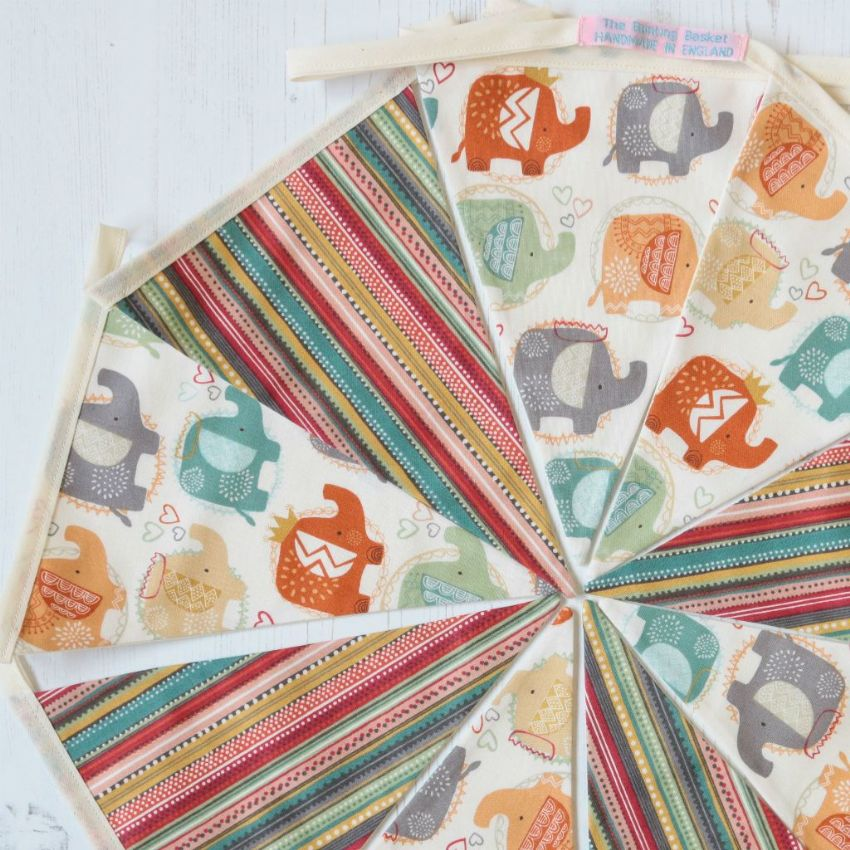 Oriental Elephant's - 9 pennant cotton bunting (Price inc P&P)